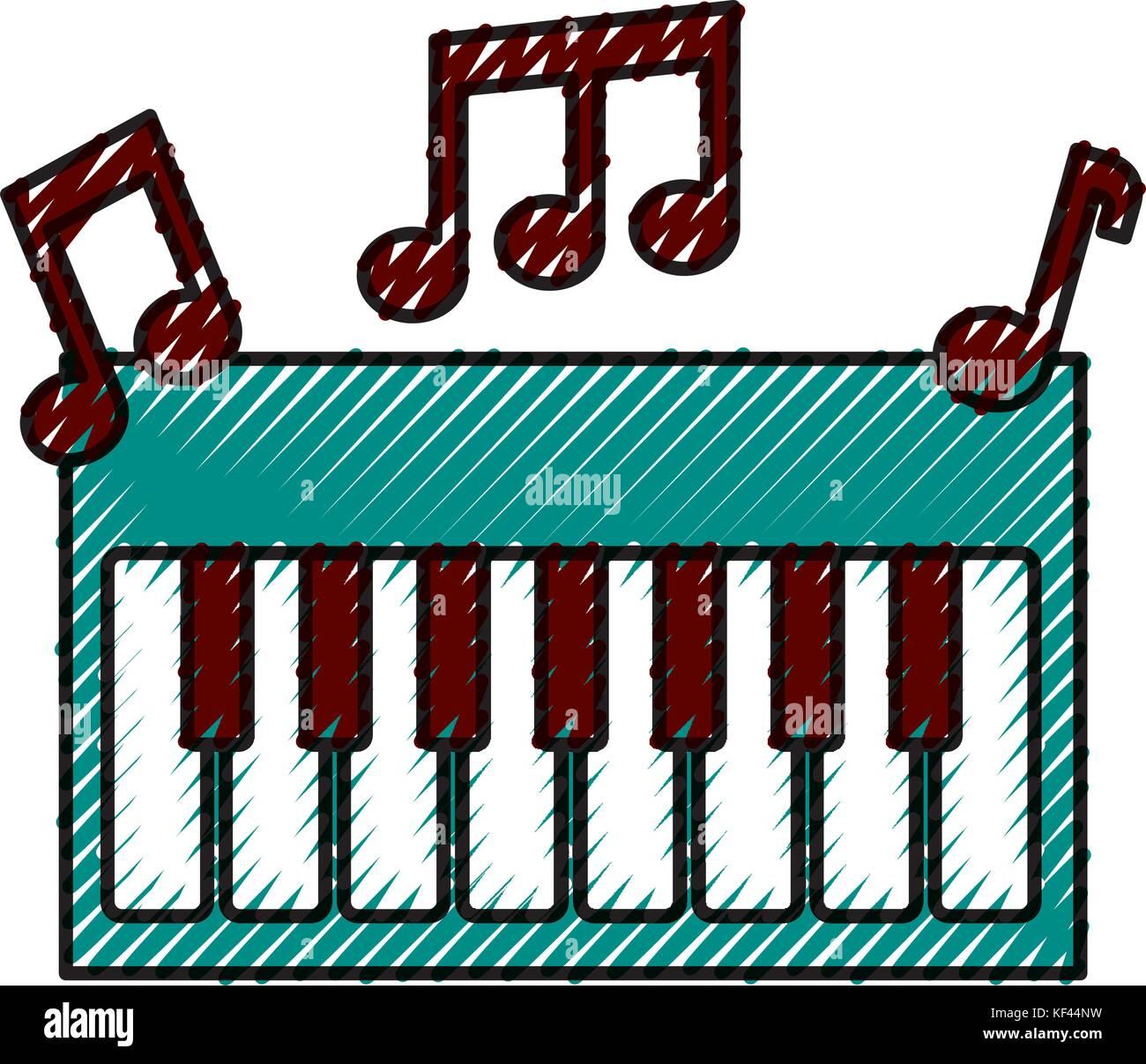 synthesizer note music electronic instrument keyboard - Stock Image