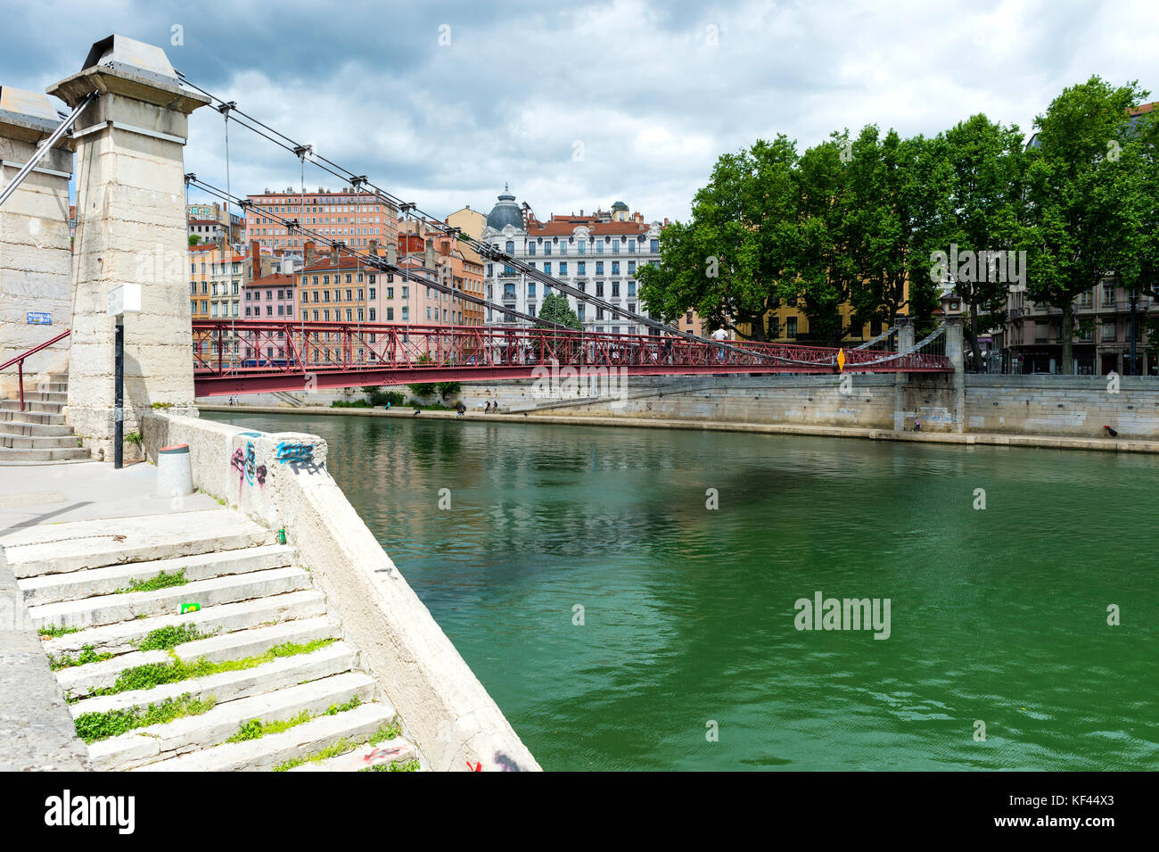 Saint Vincent footbridge over the Saone river, Lyon, Rhône Alpes, France - Stock Image