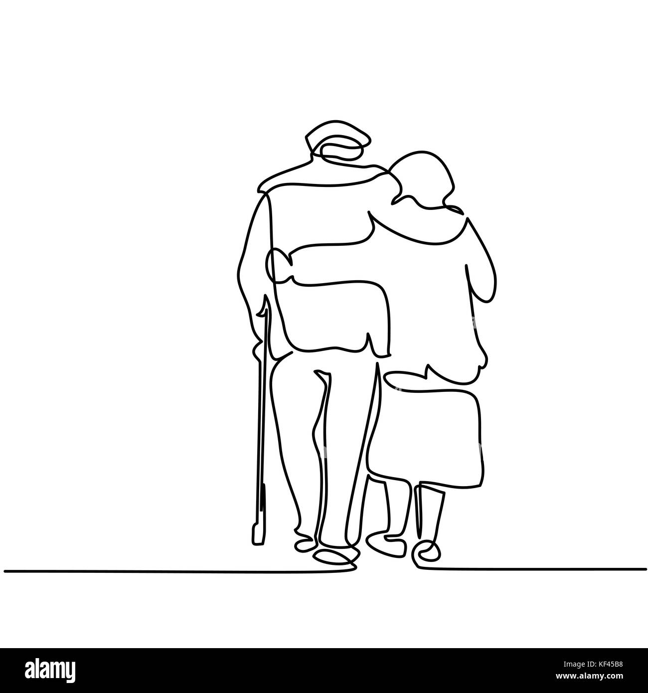 Continuous line drawing. Happy elderly couple hugging and walking. Vector illustration Stock Vector