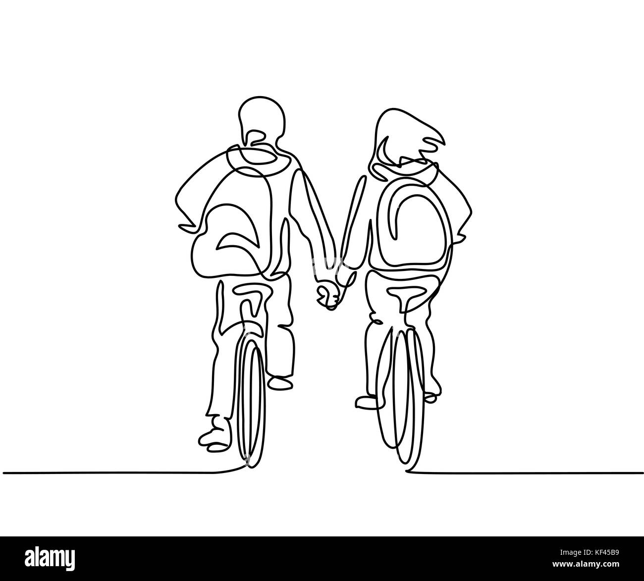 Continuous line drawing boy and girl bicycling to school holding hands vector illustration