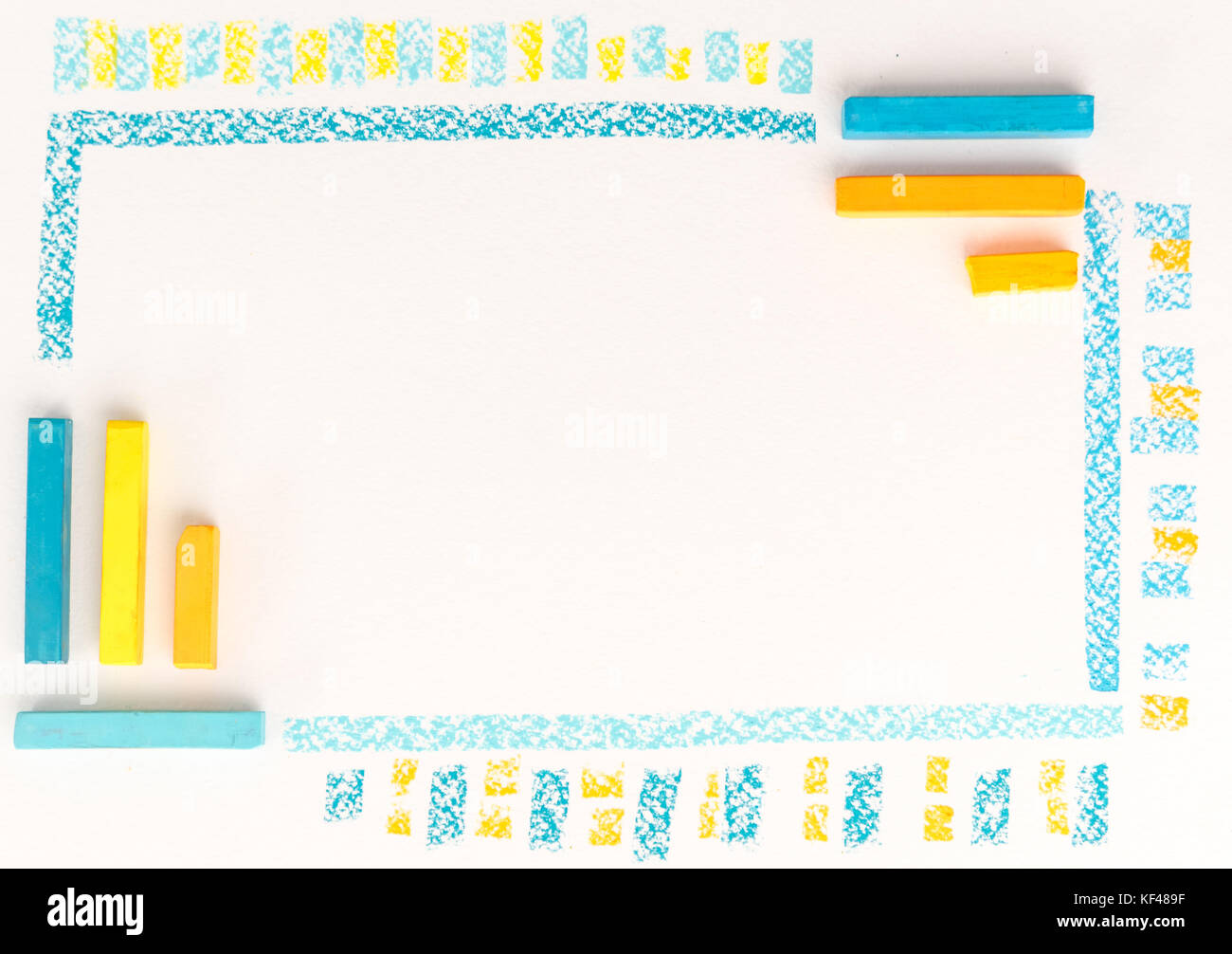Close up of color chalk drawing as striped line on white paper background - Stock Image