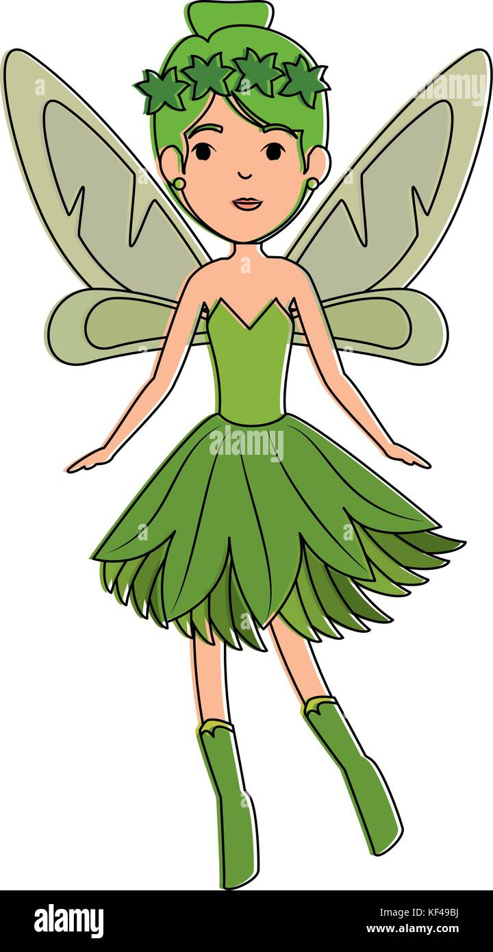 beautiful fairy flying character - Stock Image