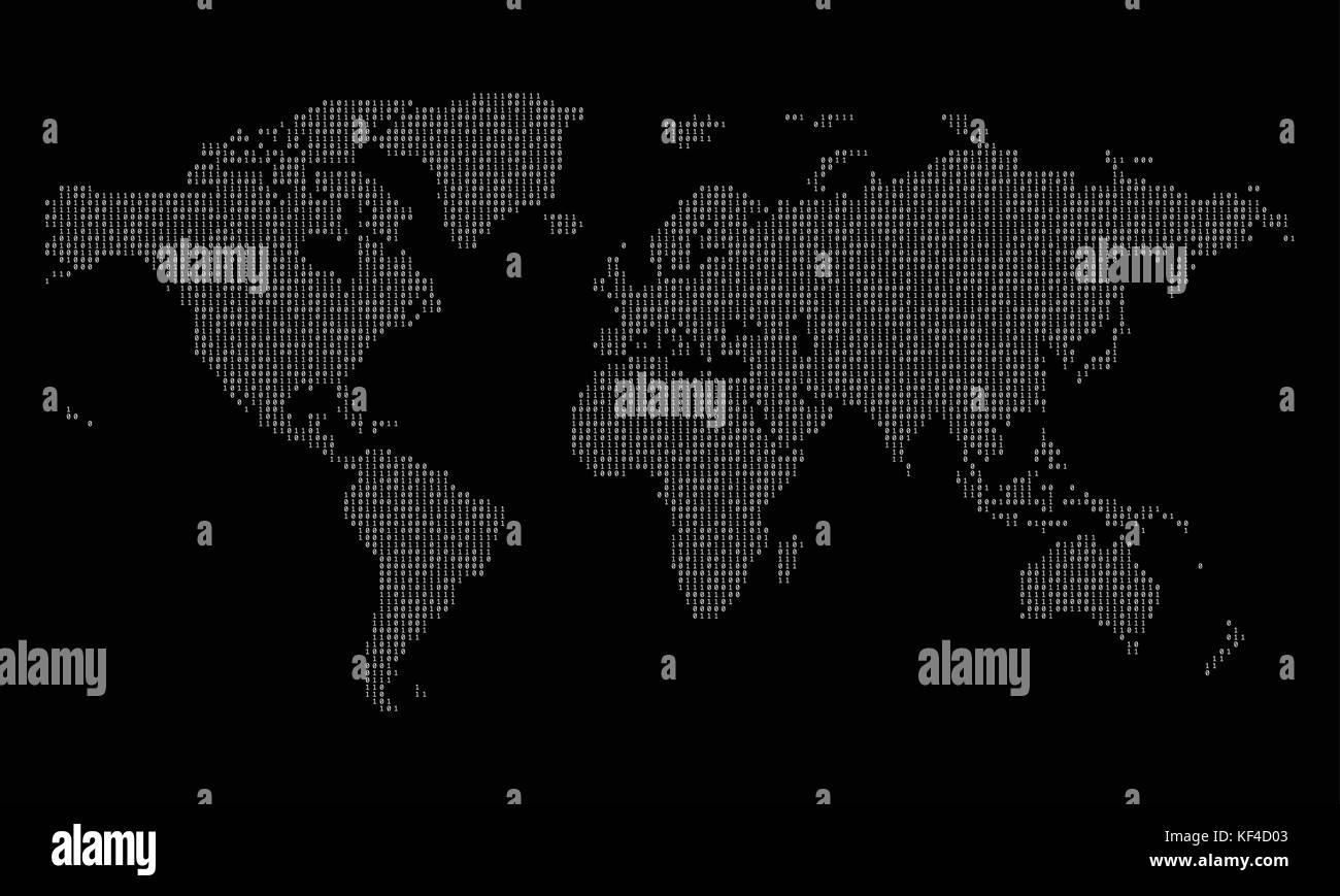 World map made from binary data code Stock Vector