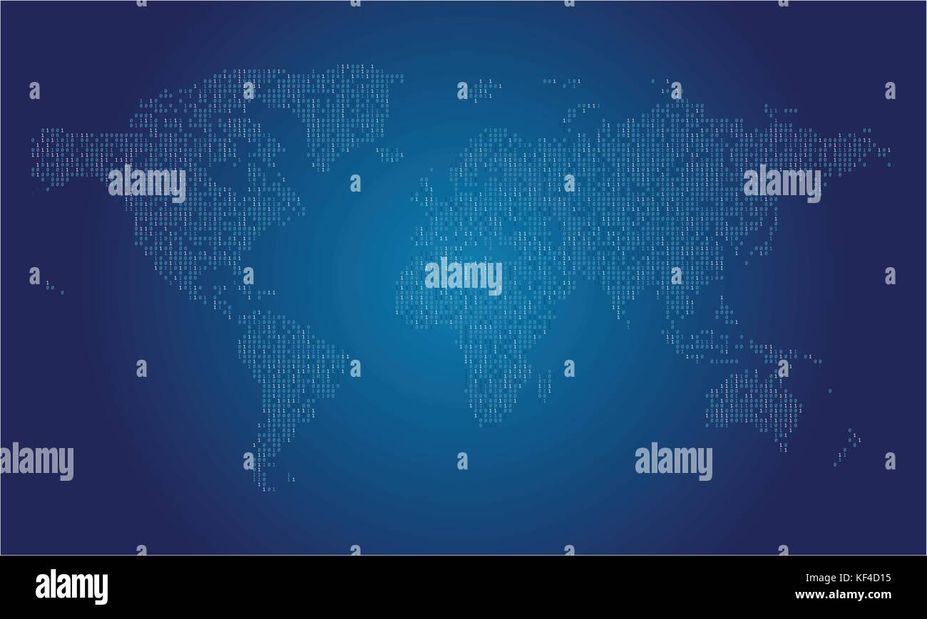 World map made from binary data code Stock Vector