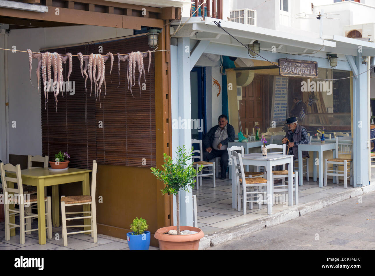 Octopus hanging for drying on a robe, tavern and fis restaurant at Naxos-town, Naxos island, Cyclades, Aegean, Greece - Stock Image