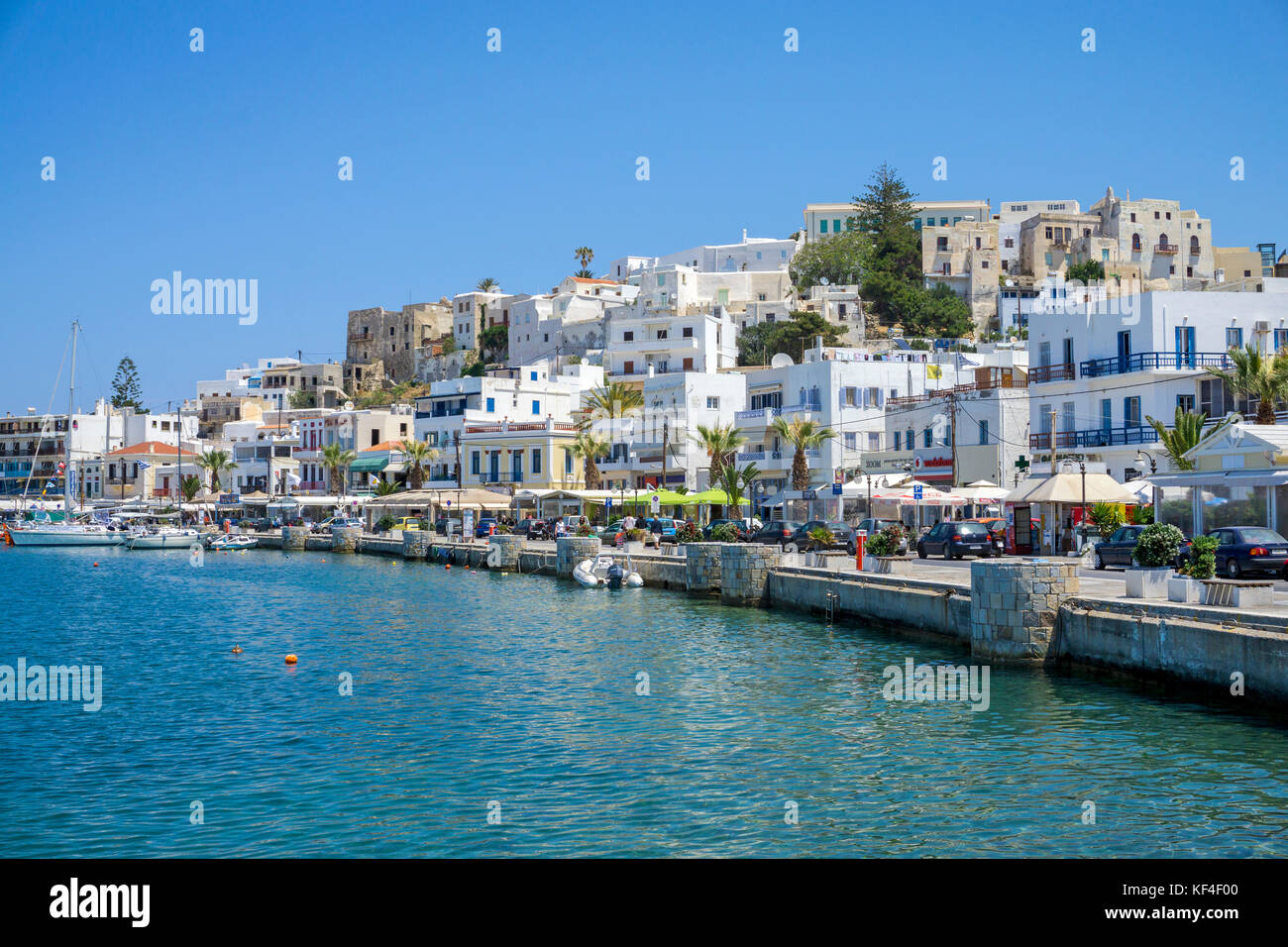 Naxos-town with Castro and harbour promenade, Naxos island, Cyclades, Aegean, Greece - Stock Image