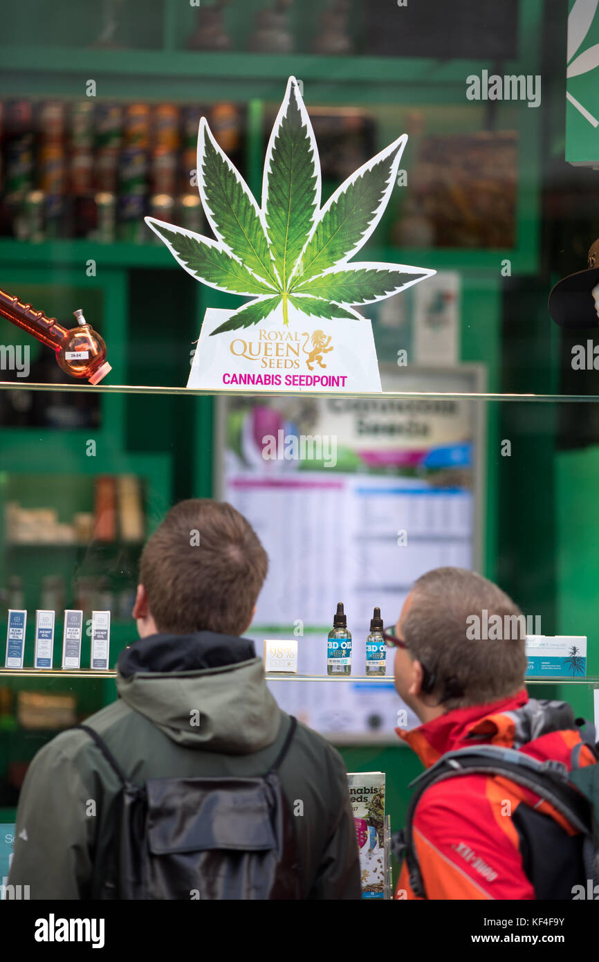 Shop selling cannabis, The red light district, Amsterdam, Netherlands - Stock Image