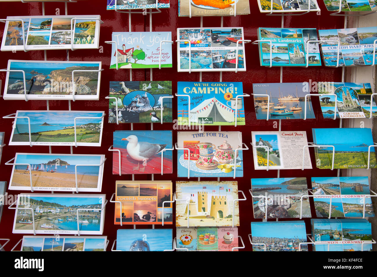 Traditional postcards, Cornwall, Uk - Stock Image