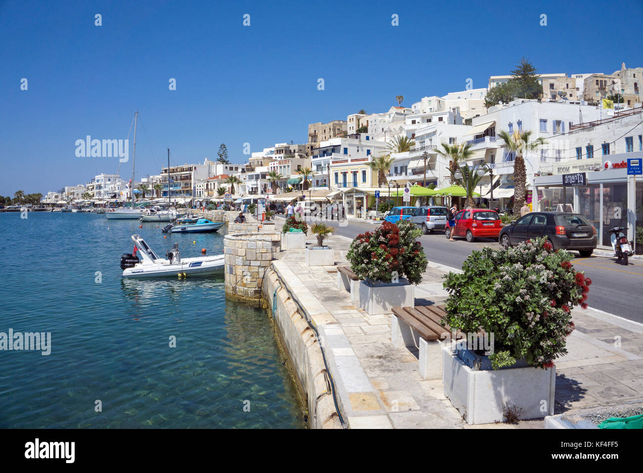 Harbour promenade at Naxos-town, Naxos, Cyclades, Aegean, Greece - Stock Image