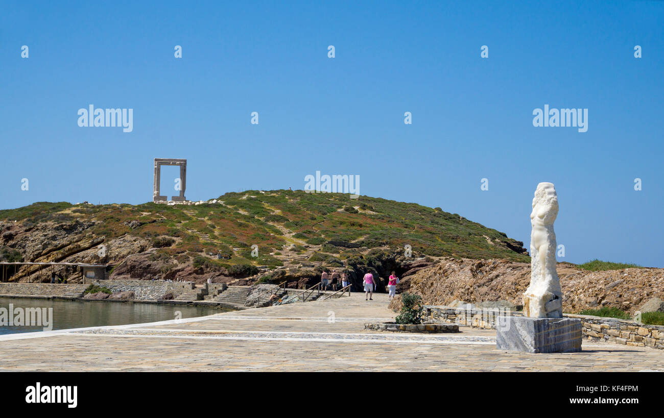 Temple gate, Portara of Naxos, landmark of Naxos, Cyclades, Aegean, Greece - Stock Image