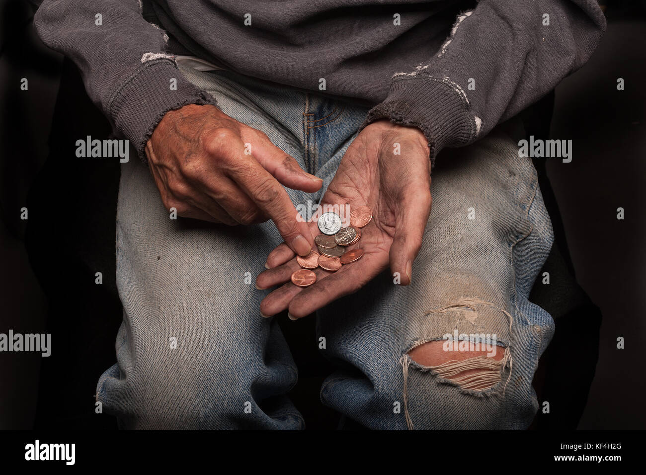 Broke and homeless - Stock Image