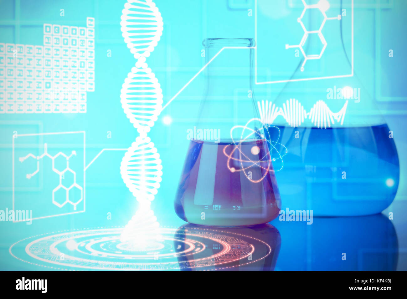 Blue and red beakers against composite image of dna helix interface - Stock Image