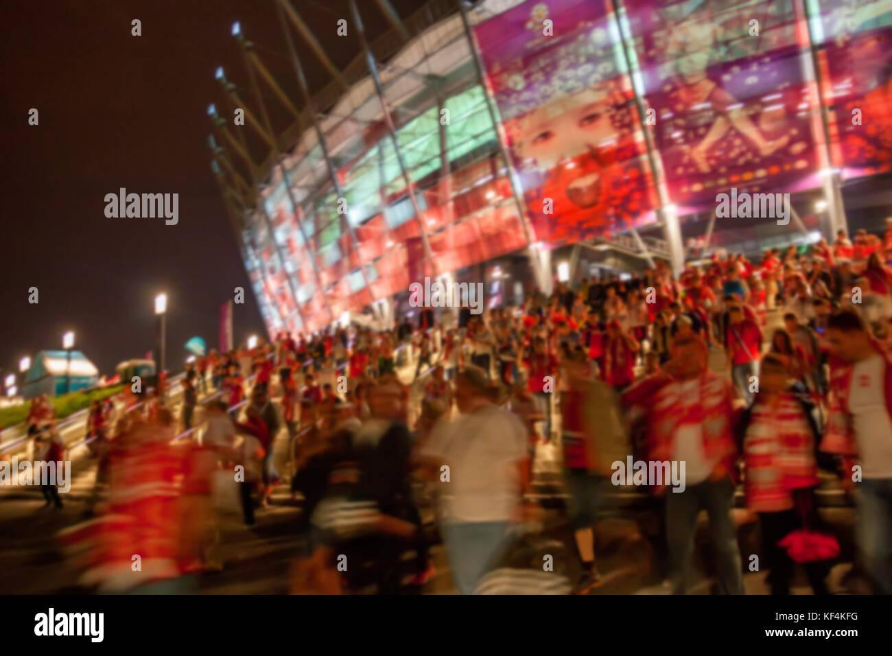 WARSAW, POLAND - JUNE 2012: Blurred view of football stadium - Stock Image