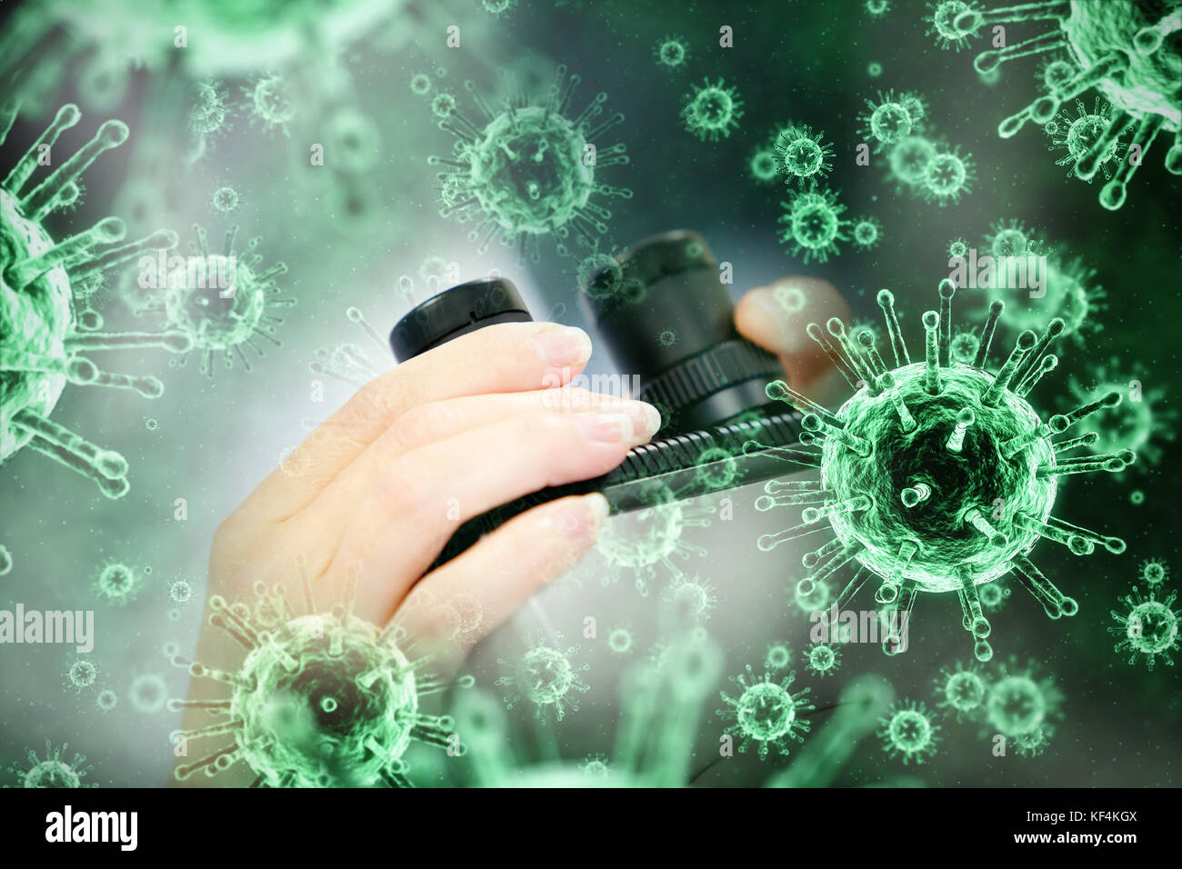 Digital image of green virus against close up of a female scientist looking through a microscope - Stock Image