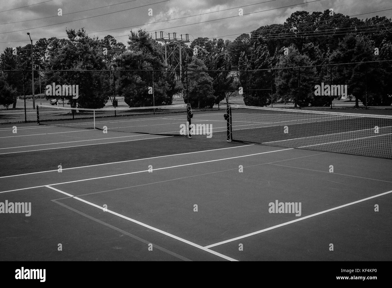 Tennis court before the match of a lifetime - Stock Image