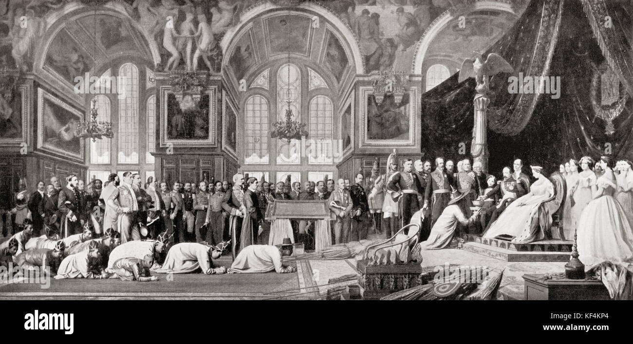 The Reception of Siamese Ambassadors by Emperor Napoleon III at the Palace of Fontainebleau, 27 June 1861. Louis - Stock Image