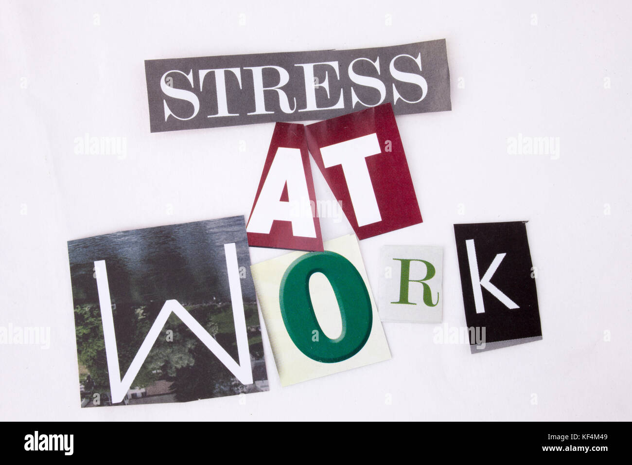 A word writing text showing concept of Stress At Work made of different magazine newspaper letter for Business concept - Stock Image