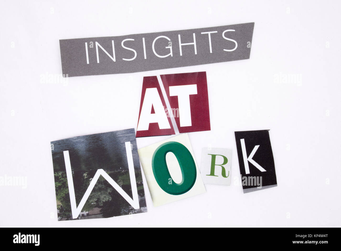 A word writing text showing concept of Insights At Work made of different magazine newspaper letter for Business - Stock Image
