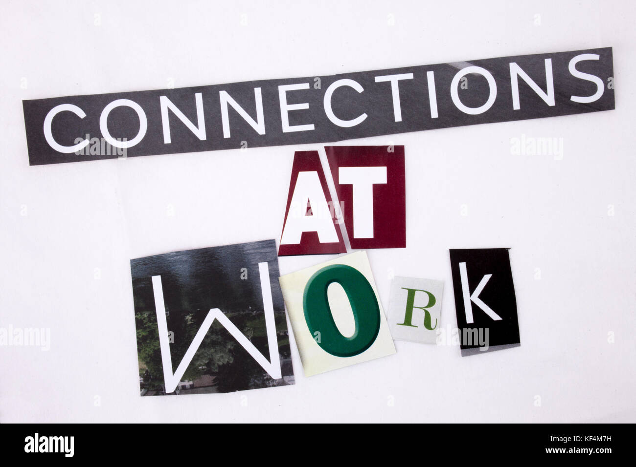 A word writing text showing concept of Connections At Work made of different magazine newspaper letter for Business - Stock Image