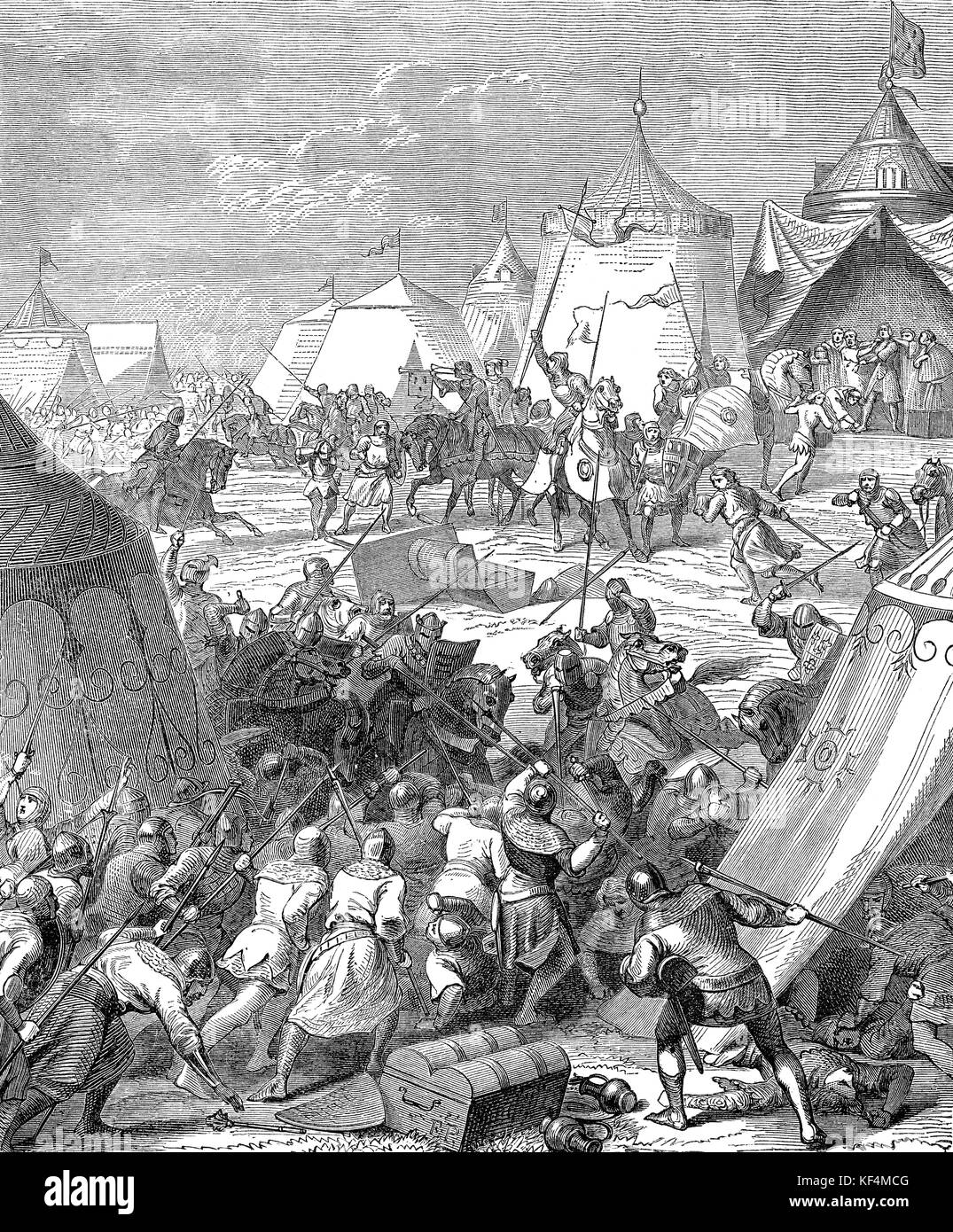 The Battle of Poitiers, 19 September 1356, Southern France, Hundred Years' War - Stock Image