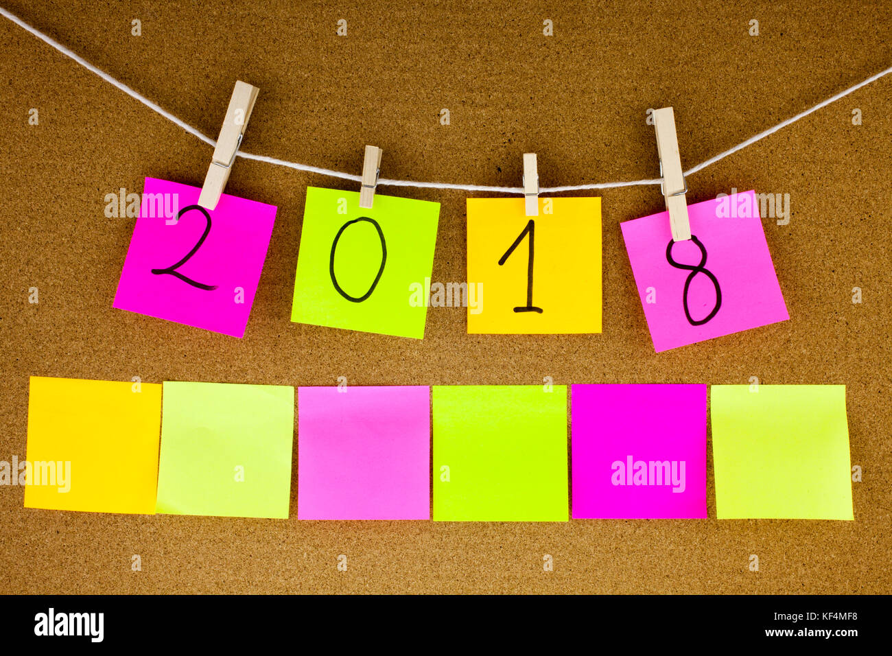 A Conceptual yellow Hand writing caption inscription written sticky note with word 2018 With black ink on a sticky - Stock Image