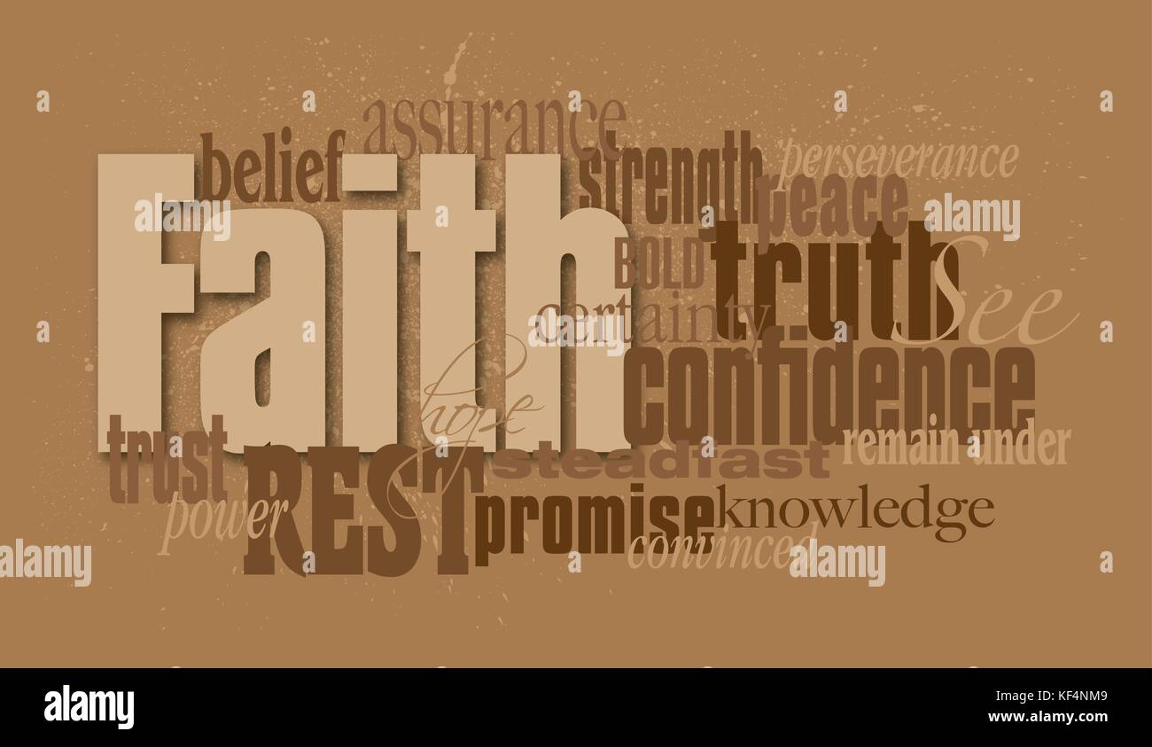 Graphic typographic montage illustration of the Christian word Faith composed of associated words and concepts. Stock Vector