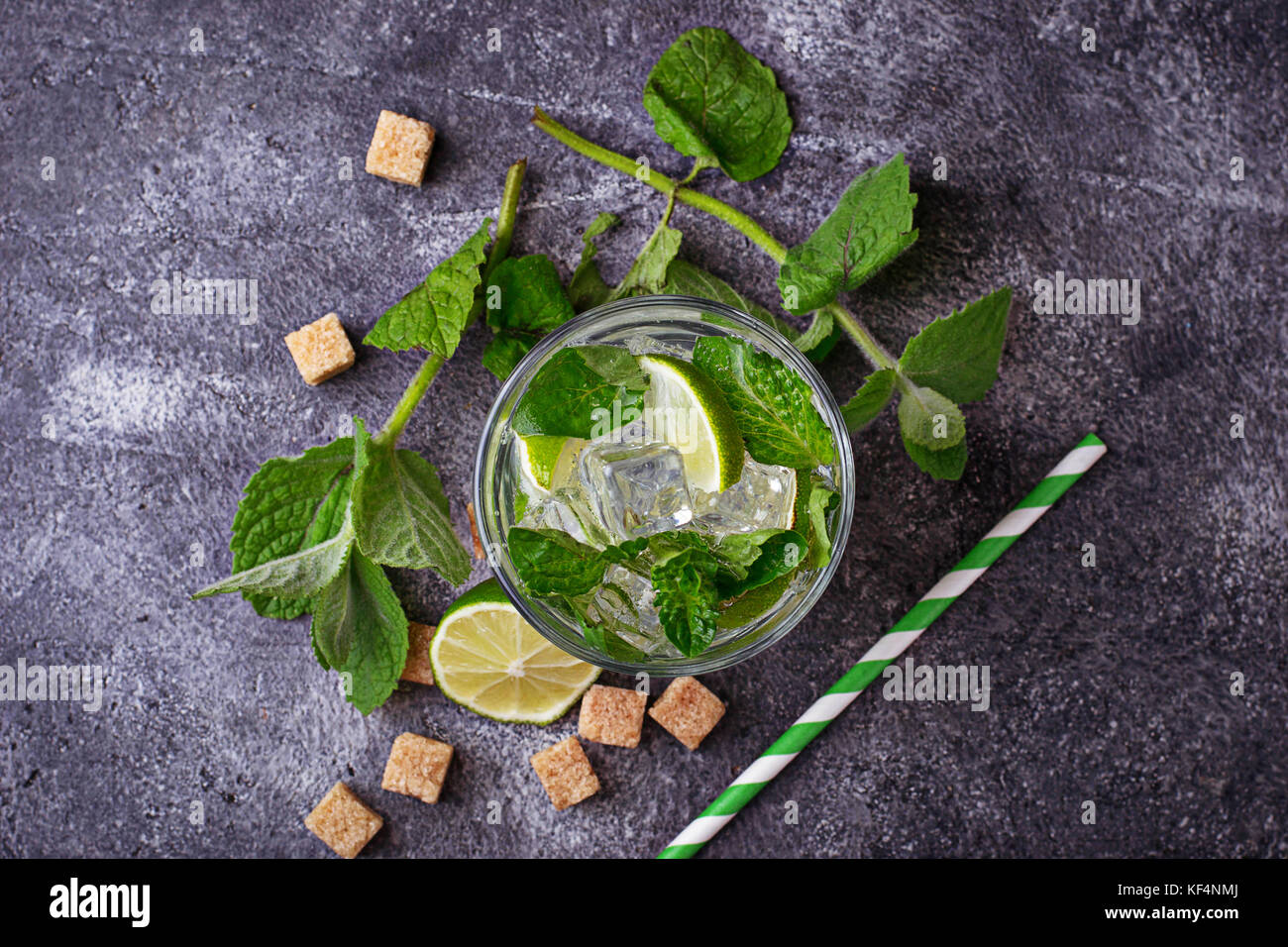 Summer drink mojito with rum, mint, ice and lime - Stock Image