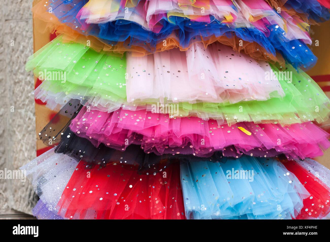 Colourful tutu skirts for sale in Palma, Majorca, Spain - Stock Image