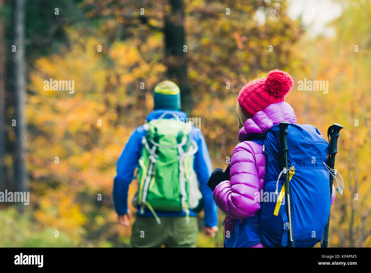 Happy couple hikers trekking in beautiful yellow autumn forest and mountains. Young people man and woman walking - Stock Image