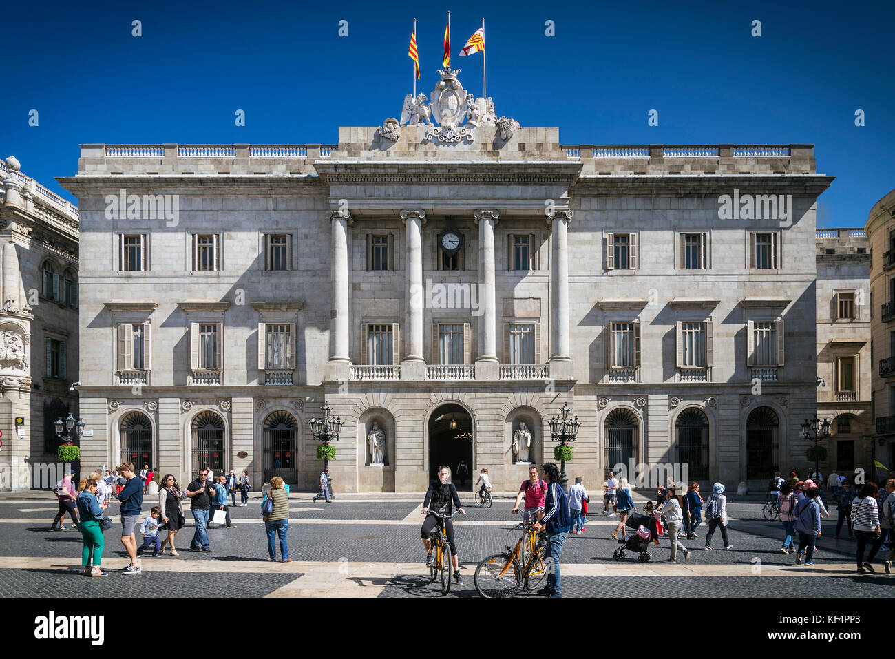 town hall landmark government building at sant jaume square in old town of barcelona spain - Stock Image