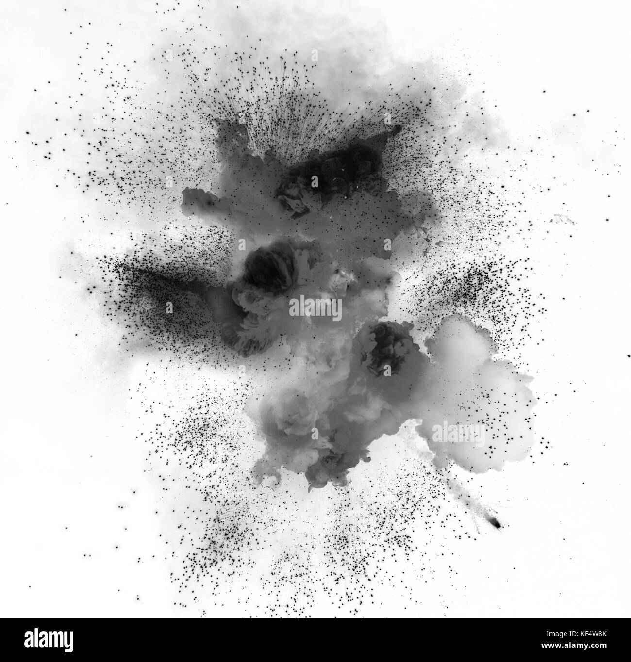 Black explosion on the white background. Gas explosion. Bomb detonation. - Stock Image