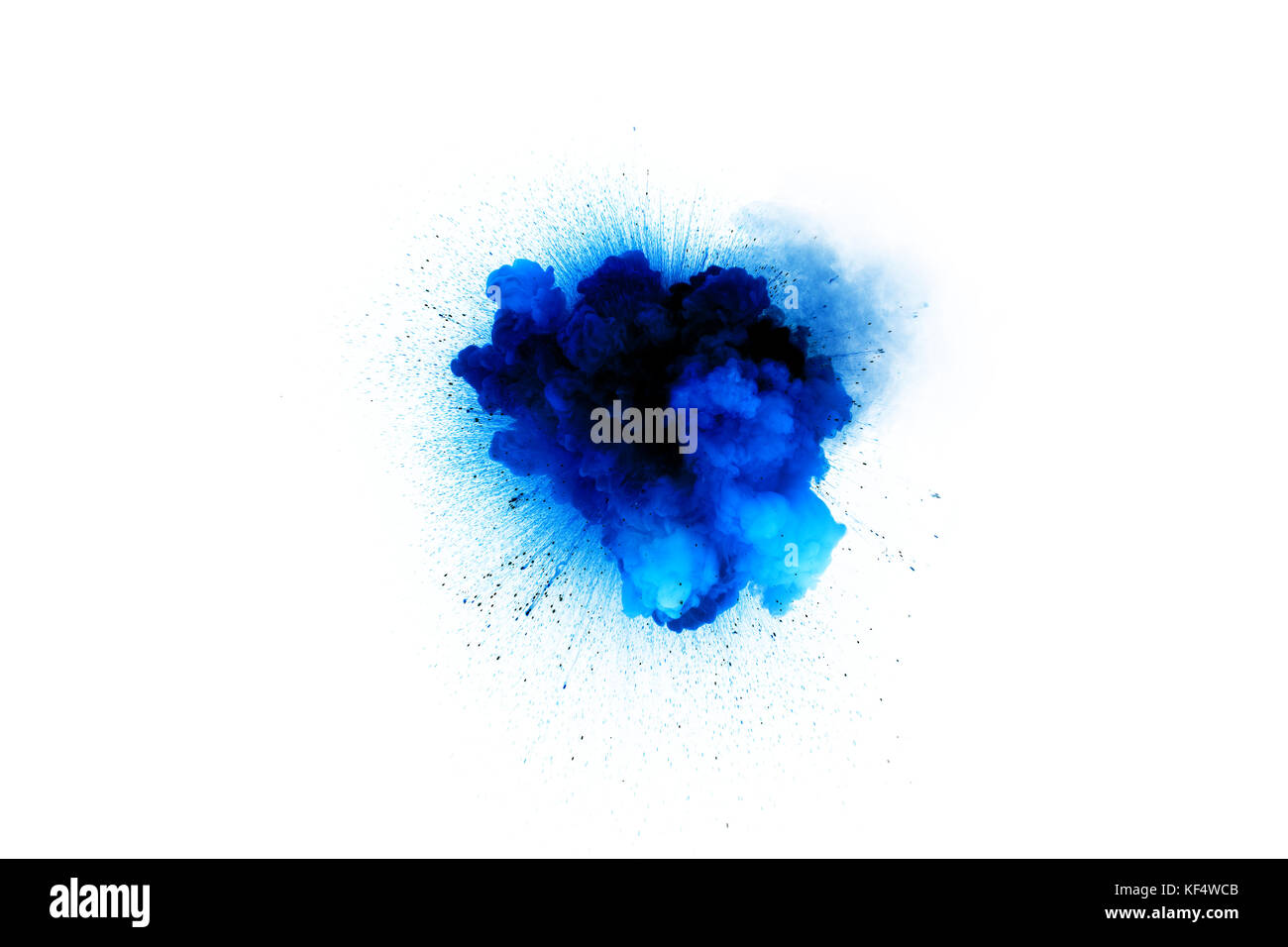 Blue explosion isolated on white background. Toxic gas detonation. - Stock Image