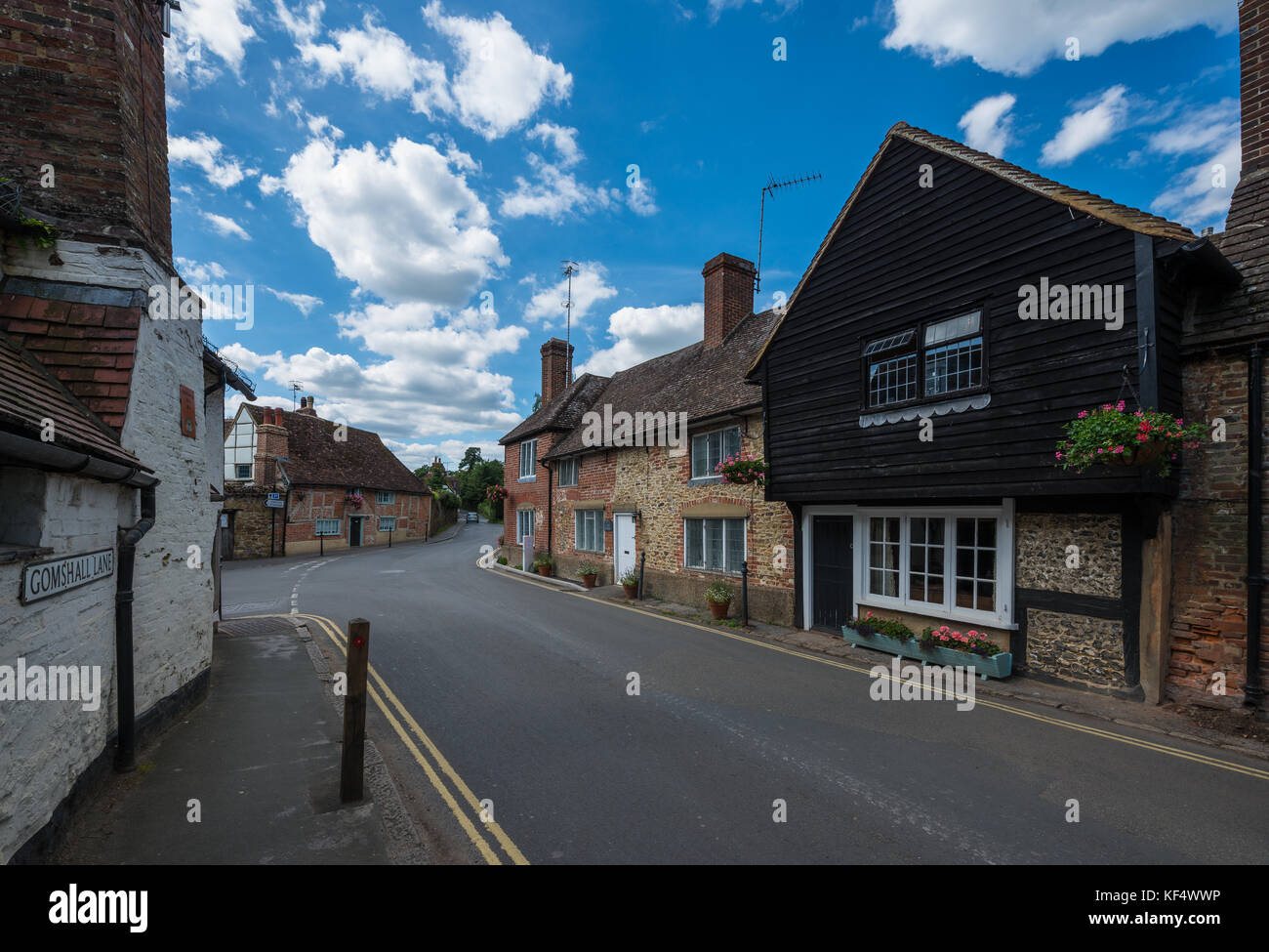 Traditional houses of the village of Shere in the Guildford district of Surrey, United Kingdom - Stock Image
