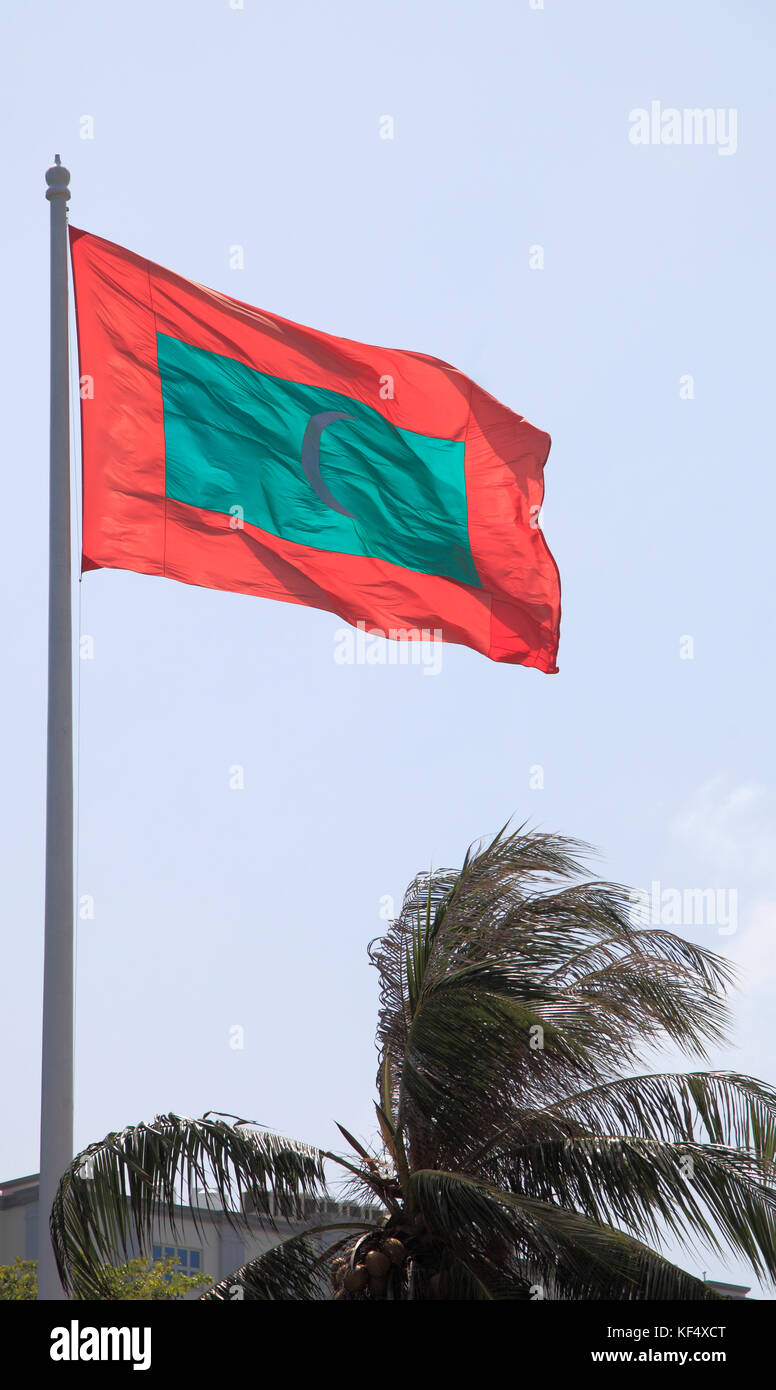 Maldives, Male, national flag, Jumhoore Maidan, main square, - Stock Image