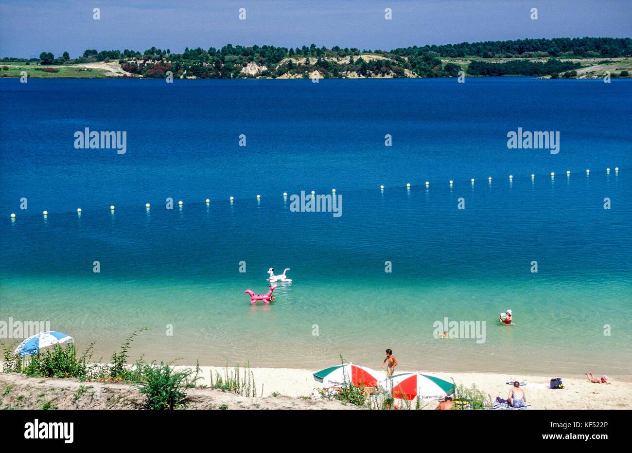 France, Landes, Arjuzanx, swimming lake on a former open brown coal