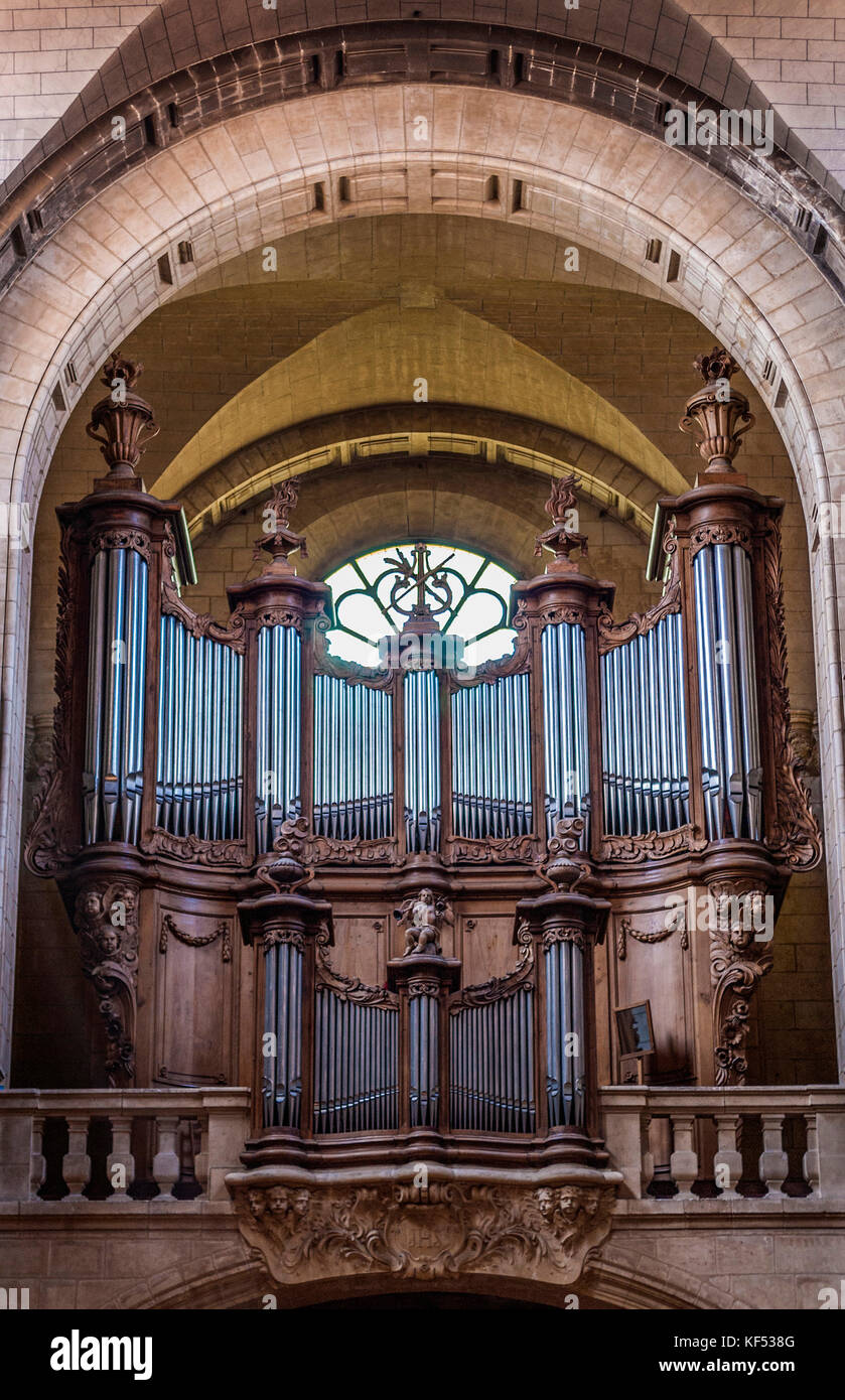 France, Landes, thermal city of Dax, Great Organs (Historical Monument) in the Notre-Dame Cathedral - Stock Image