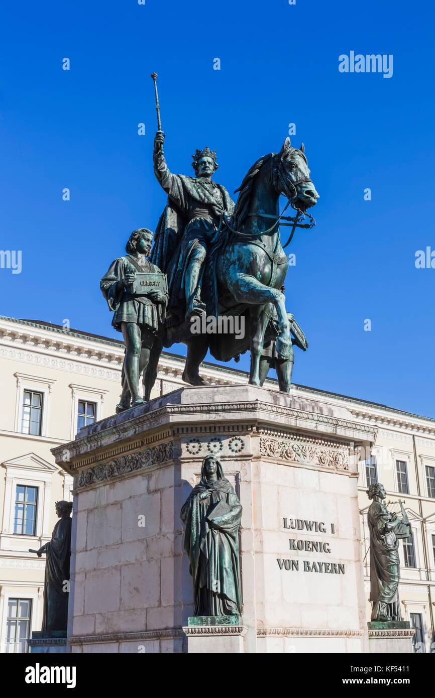 Germany, Bavaria, Munich, Statue of King Ludwig 1 King of Bavaria - Stock Image
