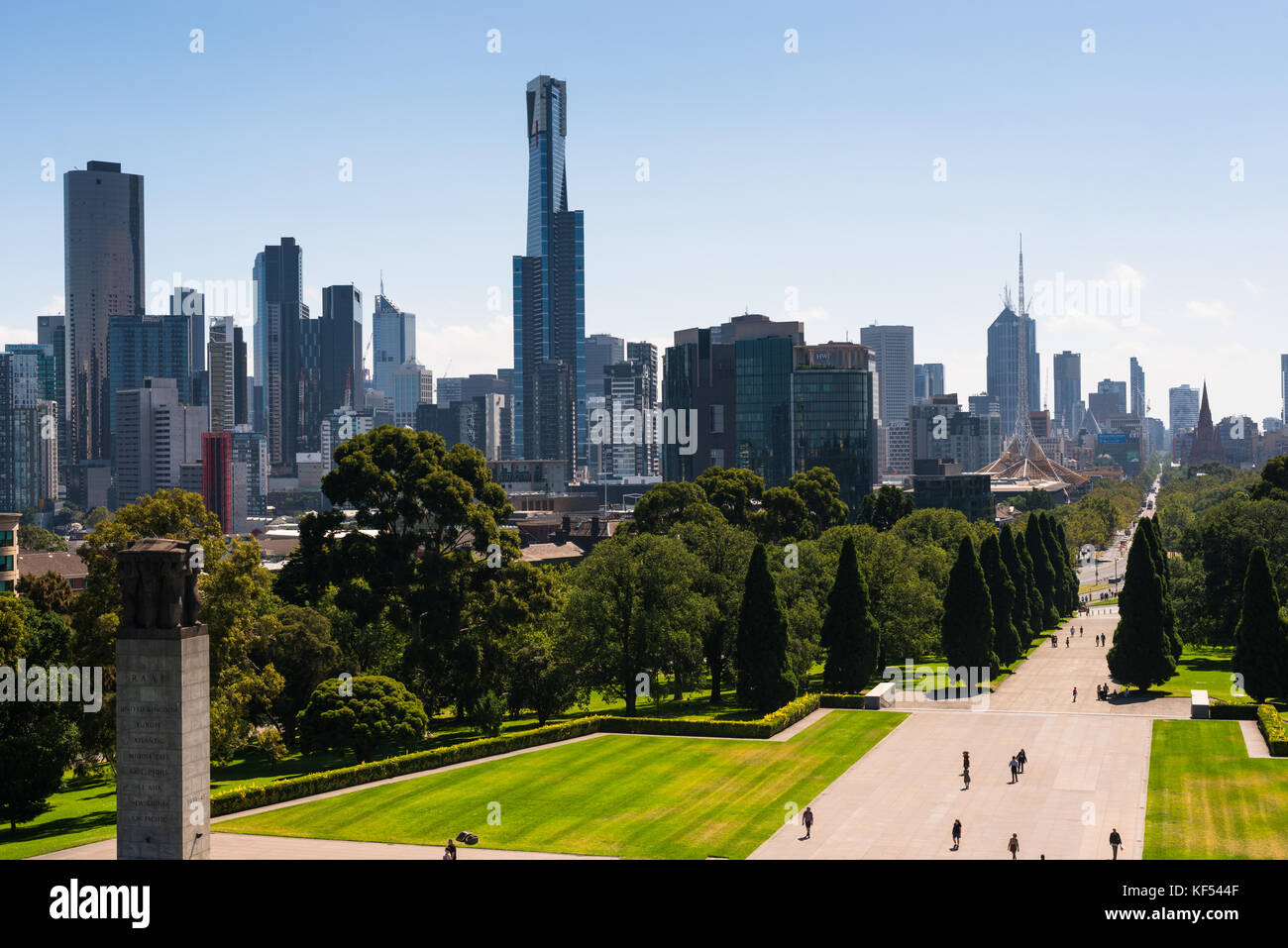 Views of city skyline from the Shrine of Remembrance Melbourne Victoria Australia. - Stock Image
