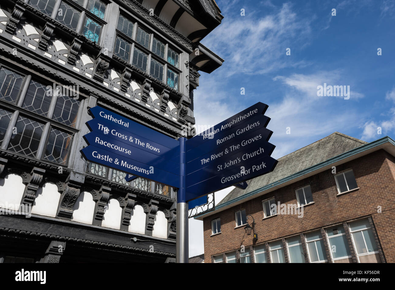 Signpost showing directions to the points of interest and landmarks in Chester, Cheshire, UK - Stock Image