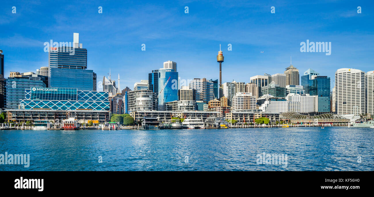 Australia, New South Wales, Sydney, Darling Harbour, view of the Promenade and King Street Wharf against the backdrop - Stock Image