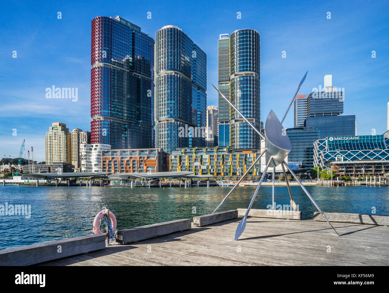 Australia, New South Wales, Sydney, Darling Harbour, stainless steel installation titled 'SubWharfyen' by - Stock Image