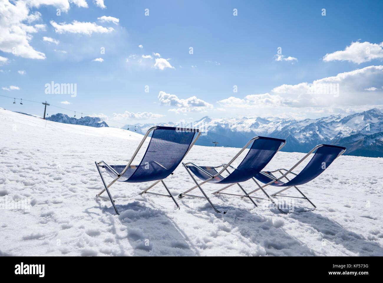 Comfy relax lounge at ski resort - Stock Image