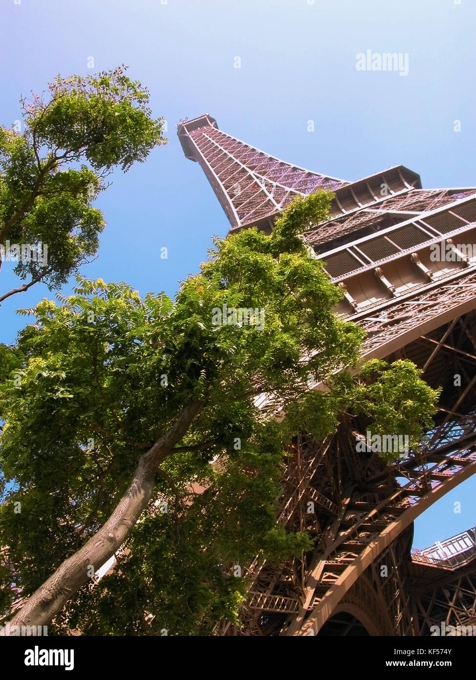The Eiffel Tower from Quai Branly, Paris, France Stock Photo
