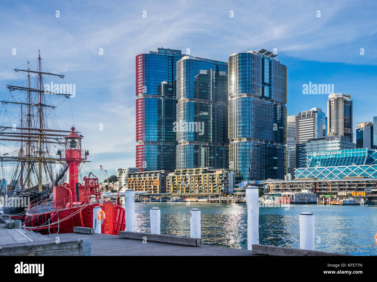 Australia, New South Wales, Sydney, Darling Harbour, view of the Barangaroo International Towers skyscrapers from - Stock Image