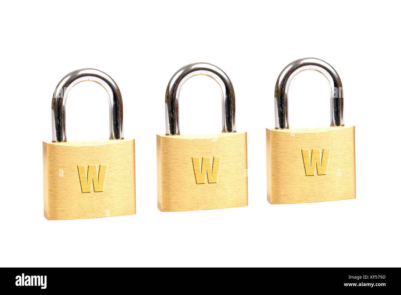 Three golden padlocks forming www word over white background - internet security concept - Stock Image