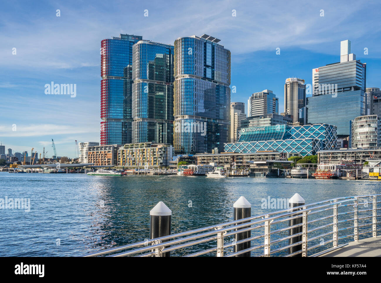 Australia, New South Wales; Sydney, Darling Harbour, view of Darling Harbour and the Barangaroo International Towers - Stock Image