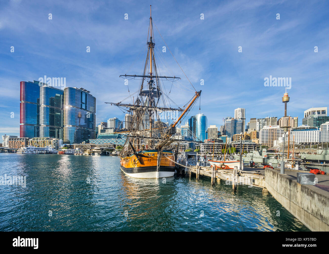 Australia, New South Wales, Sydney, Darling Harbour, Australian National Maritime Museumand the HMB Endeavor replica - Stock Image