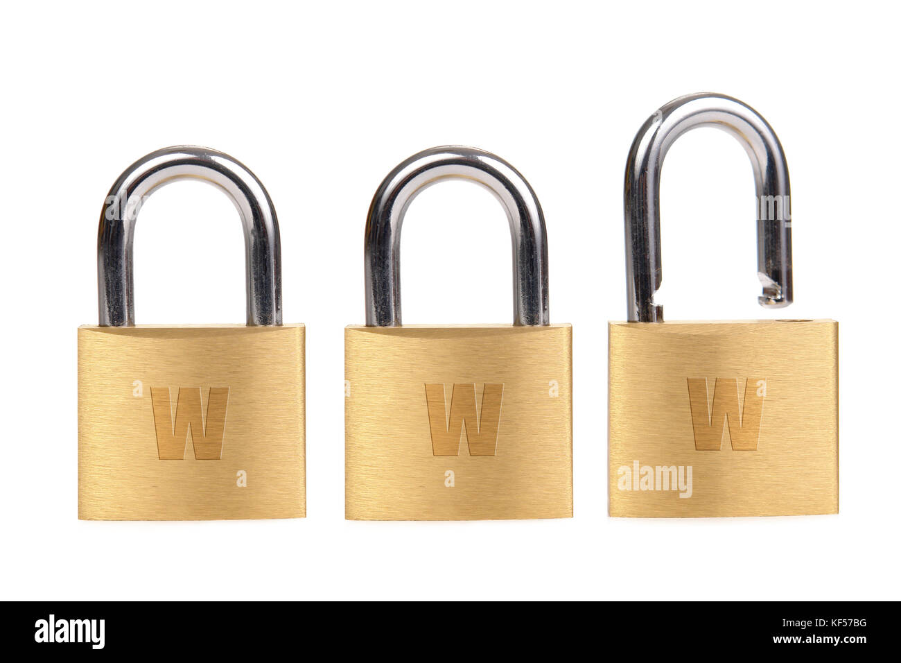 Three golden padlocks - two locked and one unlocked - forming www word over white background - internet security - Stock Image