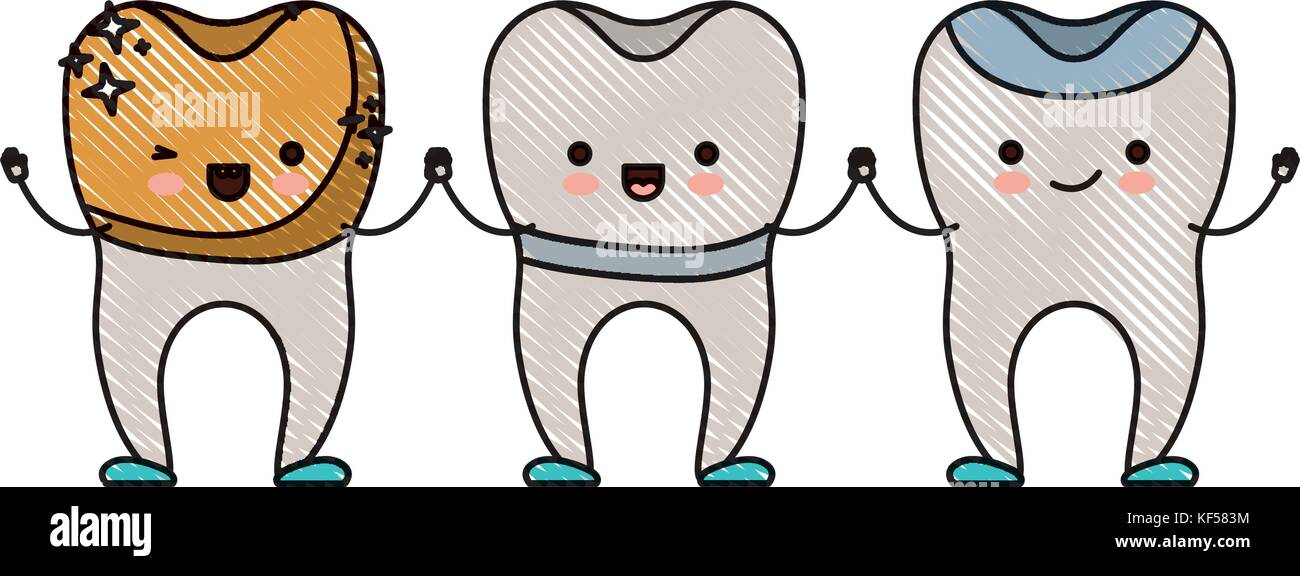 dental golden crown and implant and restored teeth cartoon holding ...