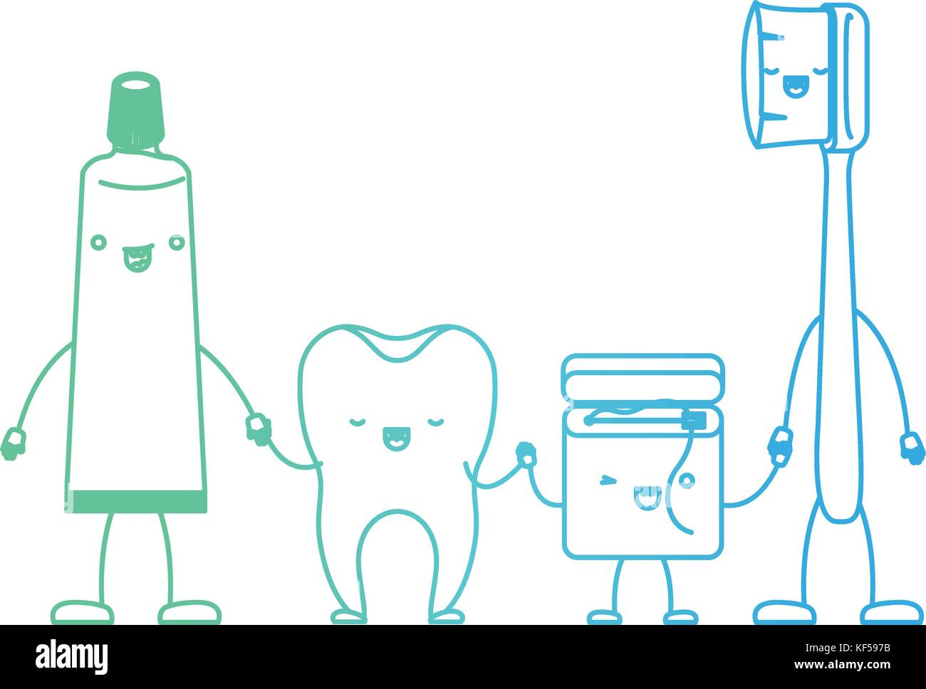 7652815a4 tooth and toothpaste and dental floss and toothbrush in cartoon holding  hands in degraded green to blue color contour